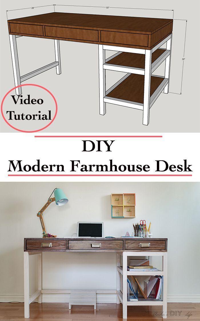 Diy Modern Farmhouse Desk Plans And Video Modern Farmhouse Desk Diy Desk Plans Modern Farmhouse Diy