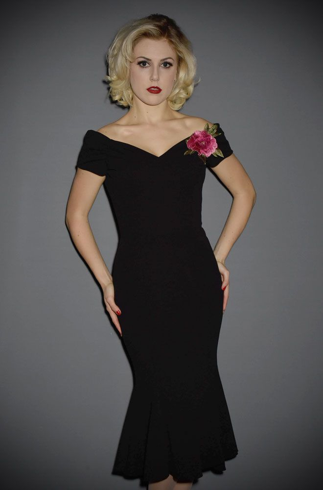Fatale 1940's Black Flare Dress - a Bardot style, off the shoulder wiggle  dress by