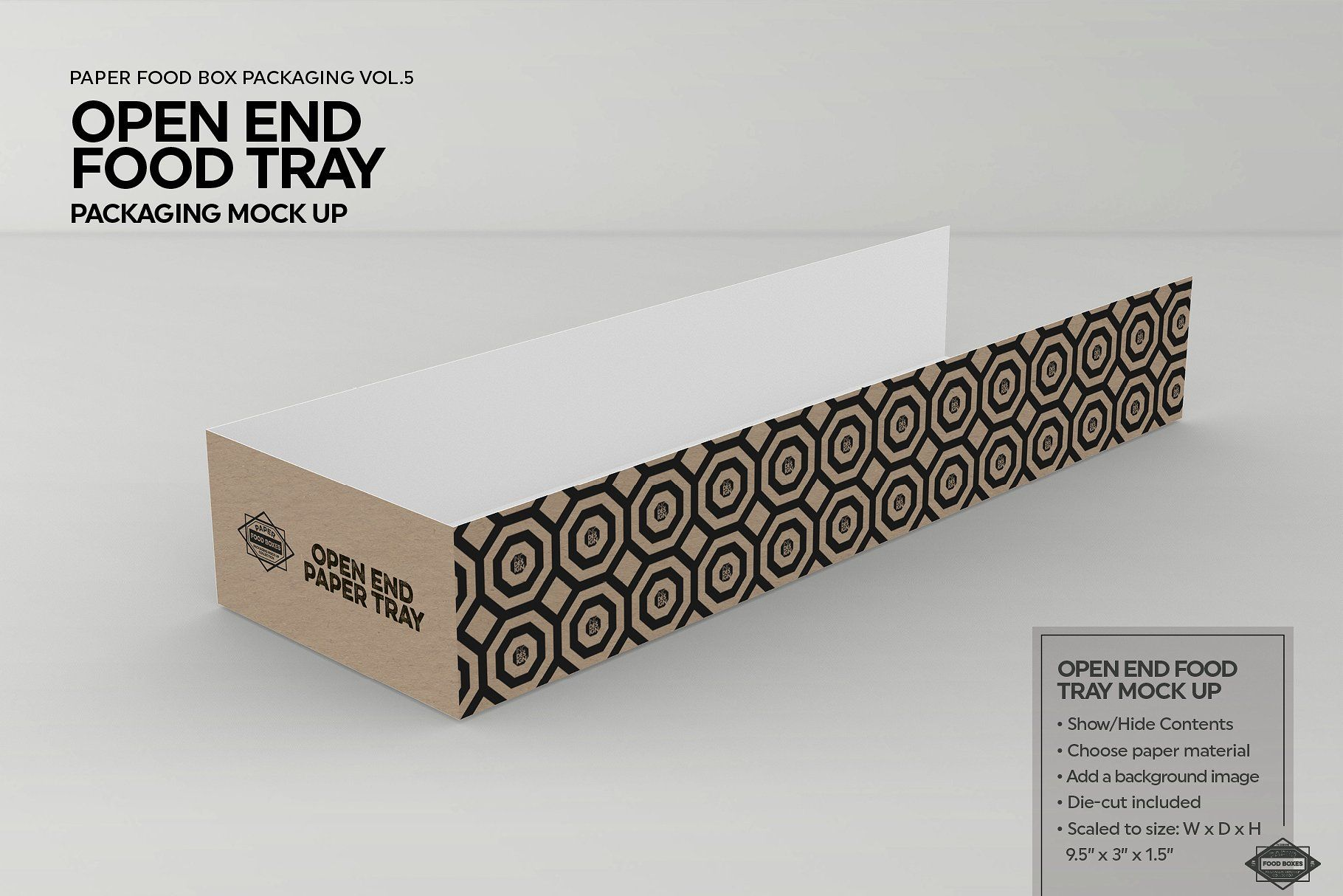 Download Open End Food Tray Packaging Mockup Food Trays Packaging Mockup Food Mockup