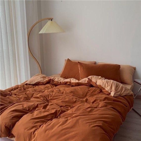Ever Lasting Burnt Orange Bedding Set Duo Colors Queen Etsy In 2021 Orange Bed Sets Queen Bedding Sets Orange Bedding