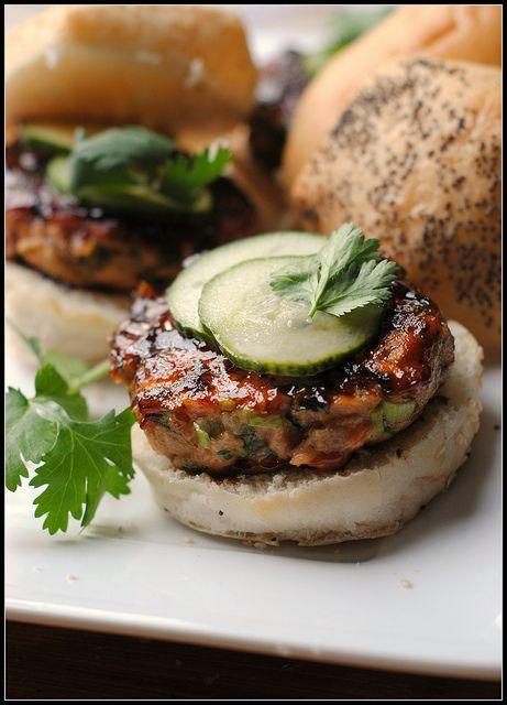 hoisin-glazed salmon burgers w/ pickled cucember