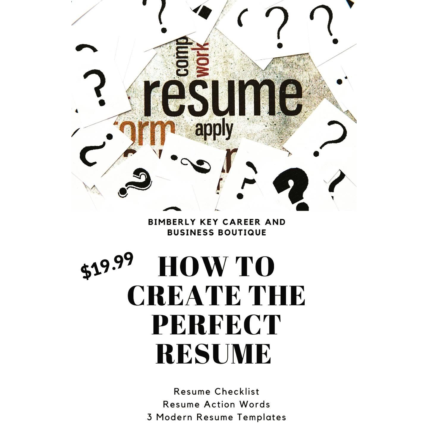 Bimberly Key Resume Template in 2020 Resume action