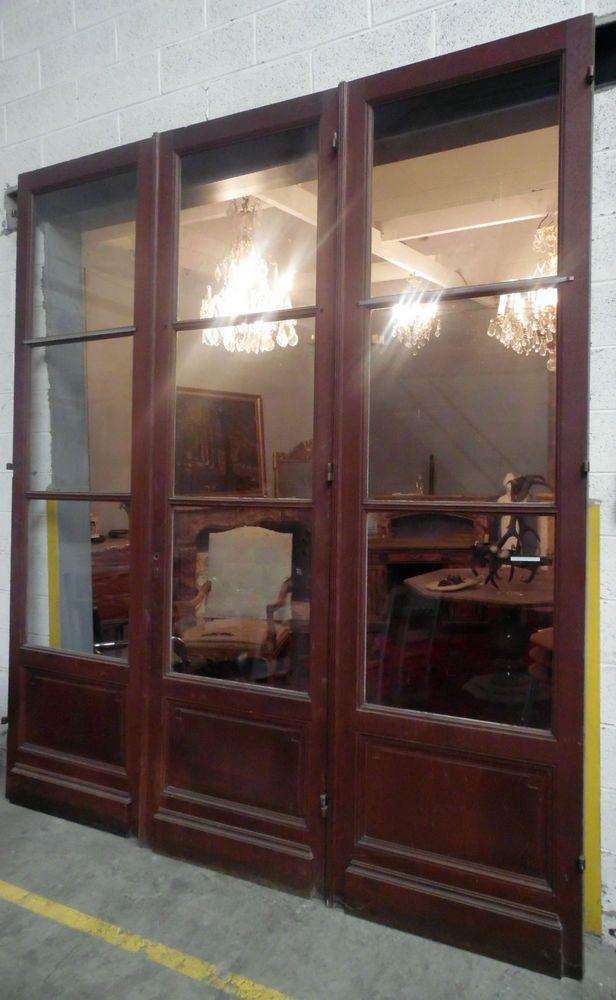 triple portes de séparation en chêne massif, double face, patinée - Decoration Encadrement Porte Interieur