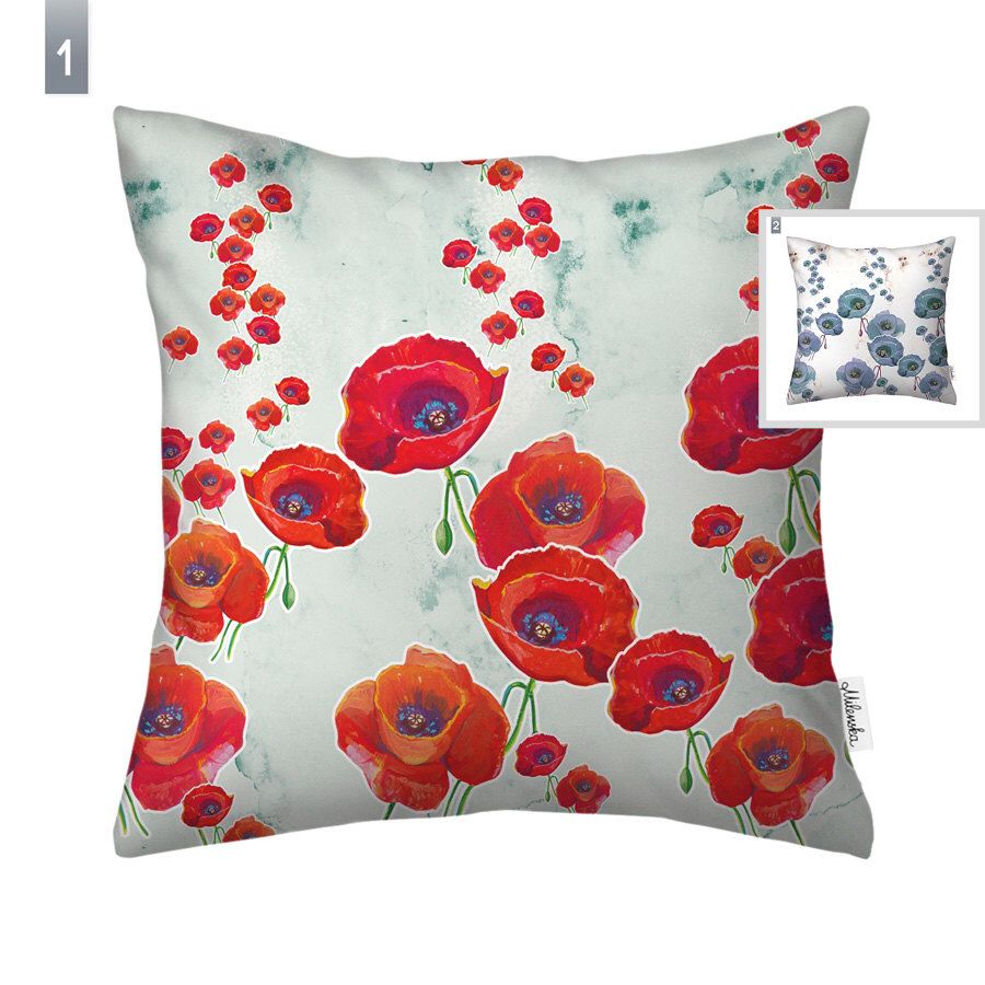 poppy pillow cover by original pattern design red u0026 mint floral cushion cover grey