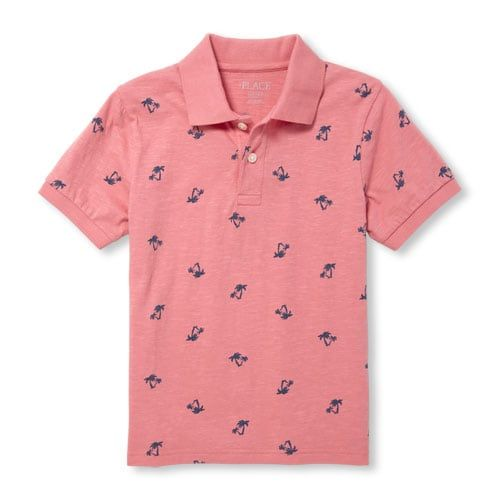 The Childrens Place Big Boys Short Sleeve Printed Polos