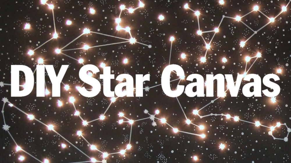 Diy Lighted Constellation Canvas By Threadbanger Diy Lighting Diy Canvas Wall Art Constellation Canvas