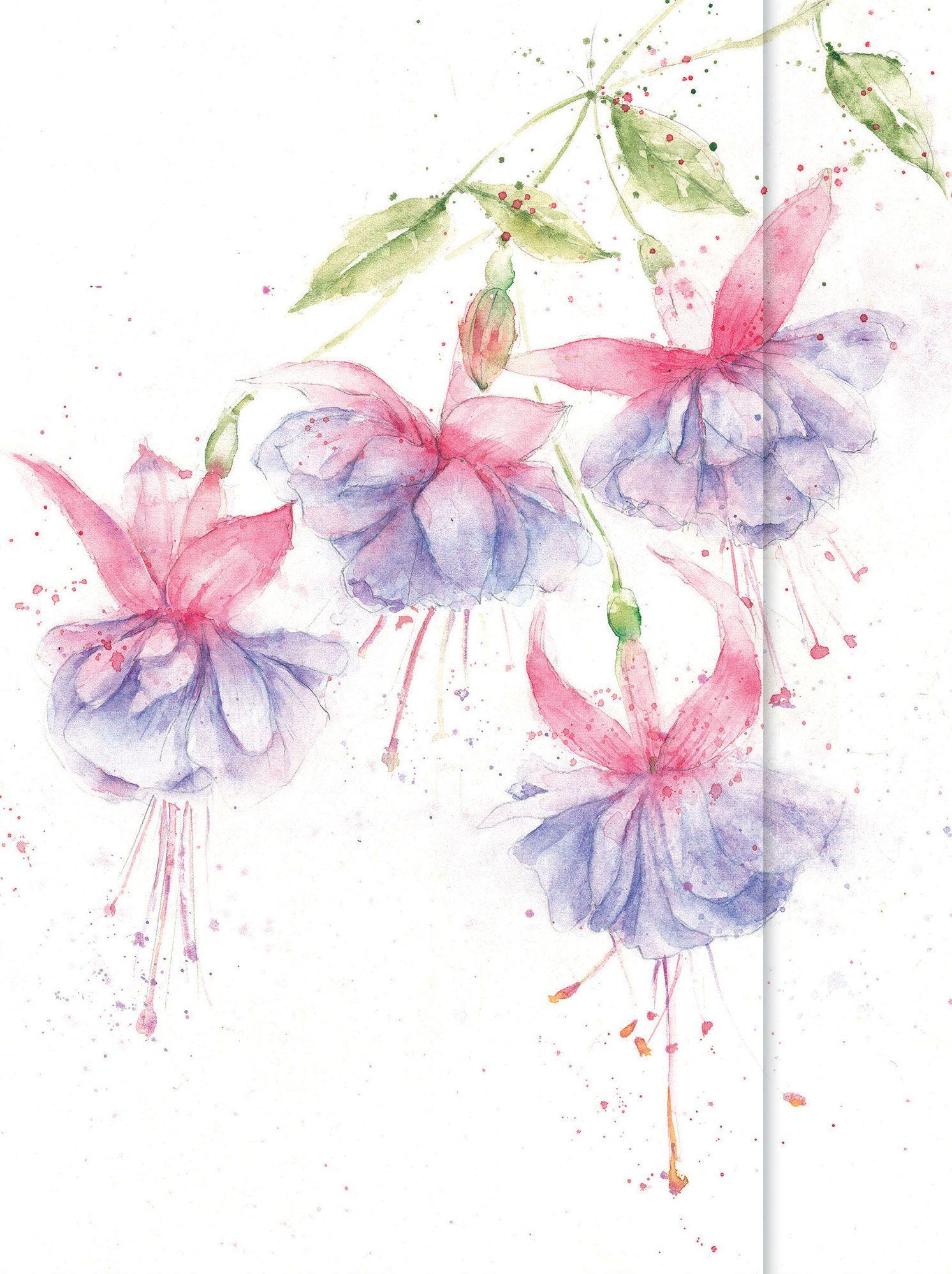 Fuchsia Luxury Card By Rose Eddington Whistlefish Galleries Watercolor Flowers Paintings Shadow Painting Flower Art