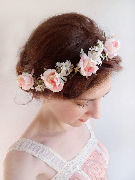 Pink Rose Flower Crown Bridal Hair Piece Flower Girl Headband