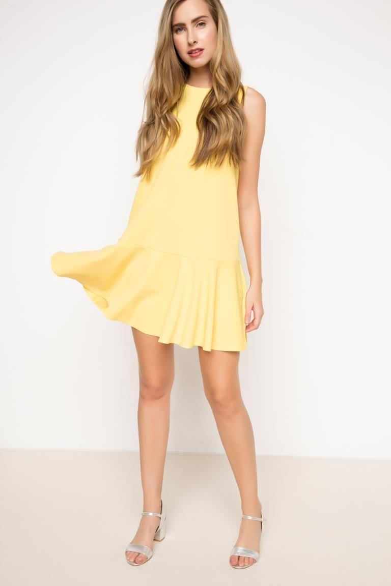 Defacto Sari Kadin Kisa Elbise 5 Elbise Mini Elbiseler Kisa Elbise