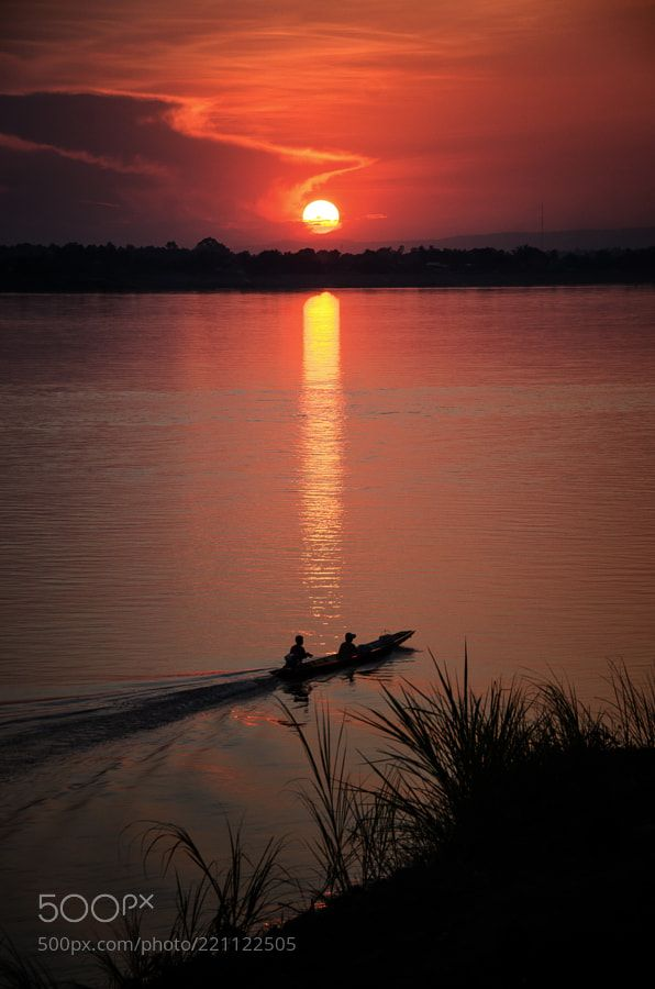 'Sunset on The Mekong' by anaolgagarcia #landscape #travel