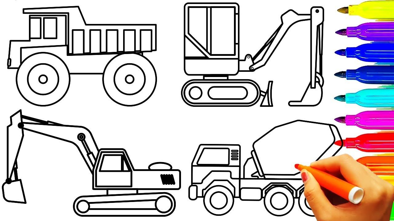 Construction vehicles coloring pages, dump truck