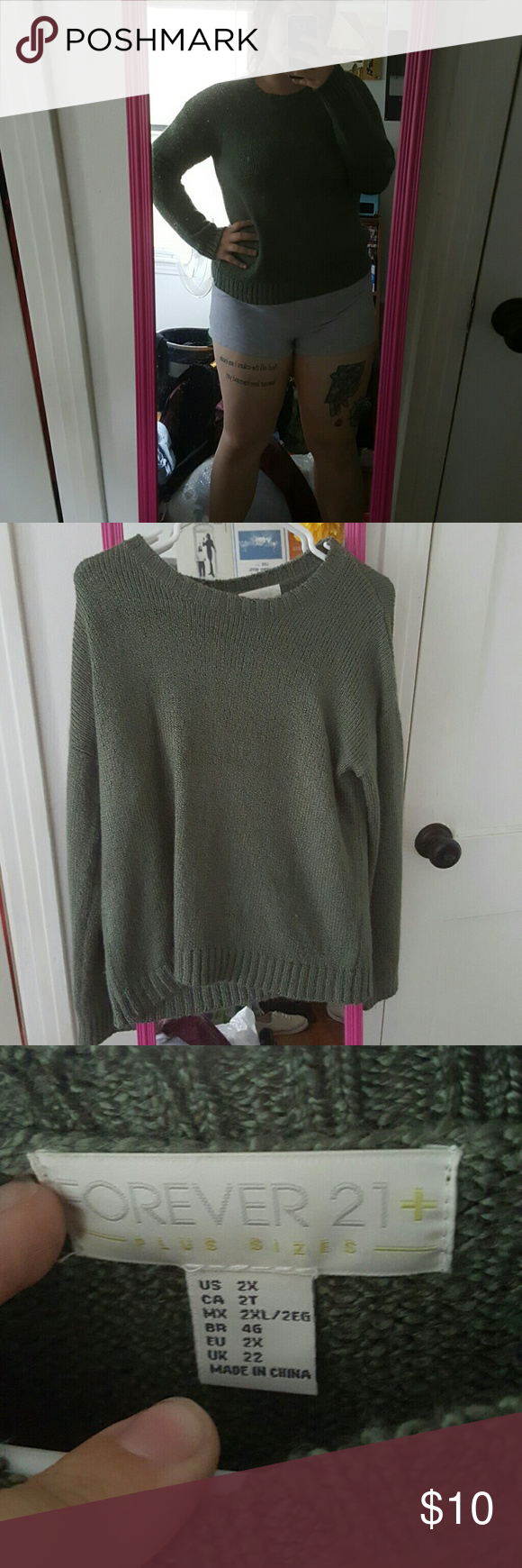 Olive Sweater Long sleeve, olive green sweater from Forever 21 ...