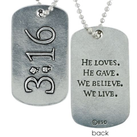 John 316 christian dog tag necklace dog tag necklace spiritual based on the numbers of hope by best selling author max lucado the design features the reference on a lead free pewter dog tag pendant negle Gallery