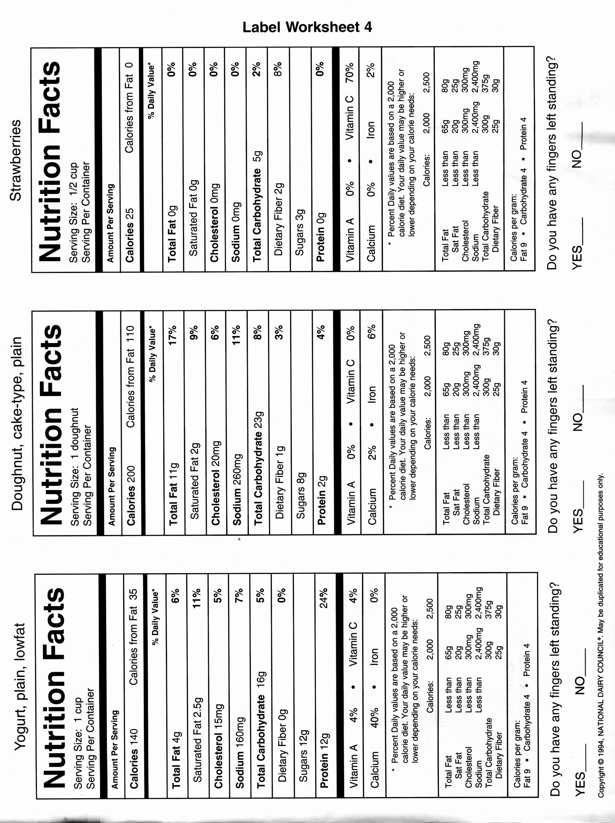 50 Blank Nutrition Label Worksheet In