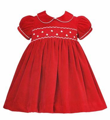 beb48dba41c Anavini Infant   Toddler Girls Red Velvet Smocked Christmas Float Dress