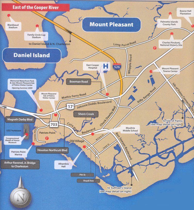 Mount Pleasant Map, SC South Carolina Charleston's