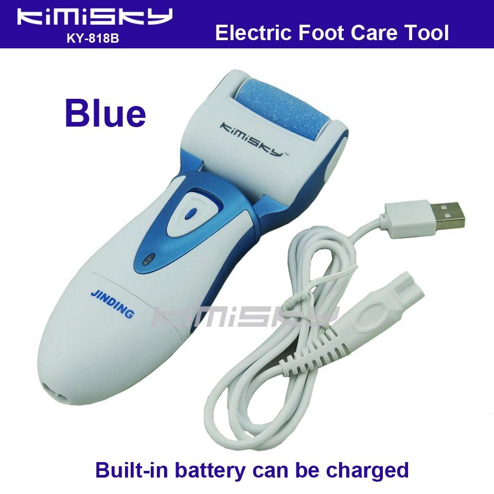 Azul USB suave fuerte eléctrica pedicura herramienta/Herramienta Del Cuidado de Pie recargable a prueba de agua + 1 unids Para scholls KIMISKY rodillo cabezas
