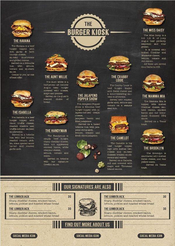 2d1e09eb91c7 The Burger Kiosk Menu Package on Behance | cardapio in 2019 | Food ...