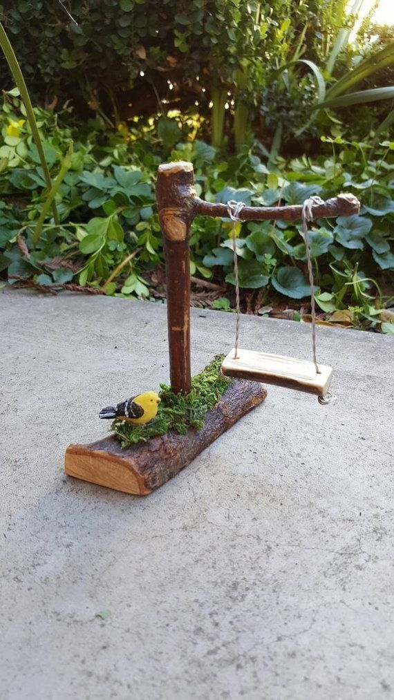 Whimsical Fairy Swing Fairy Garden Accessories Miniature Garden Accessories  Oak Twig Miniatures For Fairy Gardens 3.5