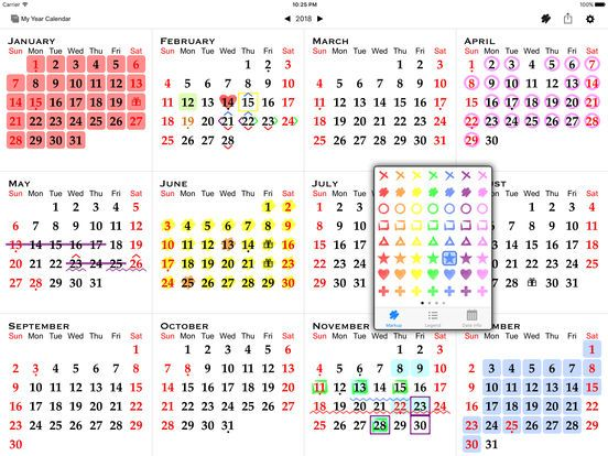 Osobný ročný kalendár pripravený na tlač Menštruačný kalendár - yearly calendar