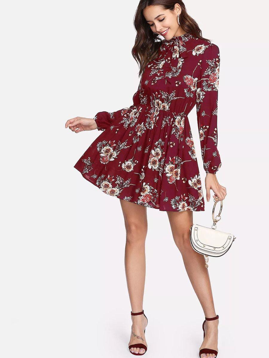 fecd07407f Tie Neck Flower Print Dress -SHEIN(SHEINSIDE) Color: Burgundy Style: Boho