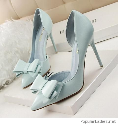 Beautiful light blue bow shoes in 2019  29c31458d1cc