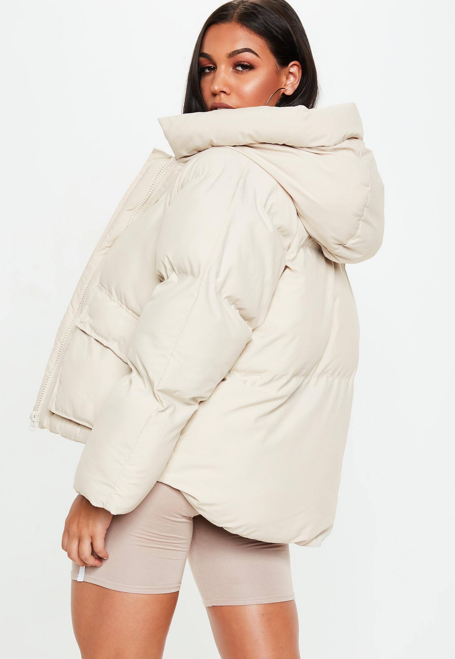 99d7633051f0a Missguided Nude Hooded Ultimate Puffer Jacket
