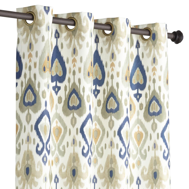 """Ikat Curtain Gray & Gold 84"""" Ikat curtains, Grey"""