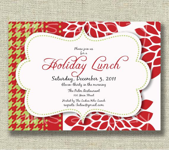 Christmas Holiday Invitation Luncheon Open House By Girlsatplay