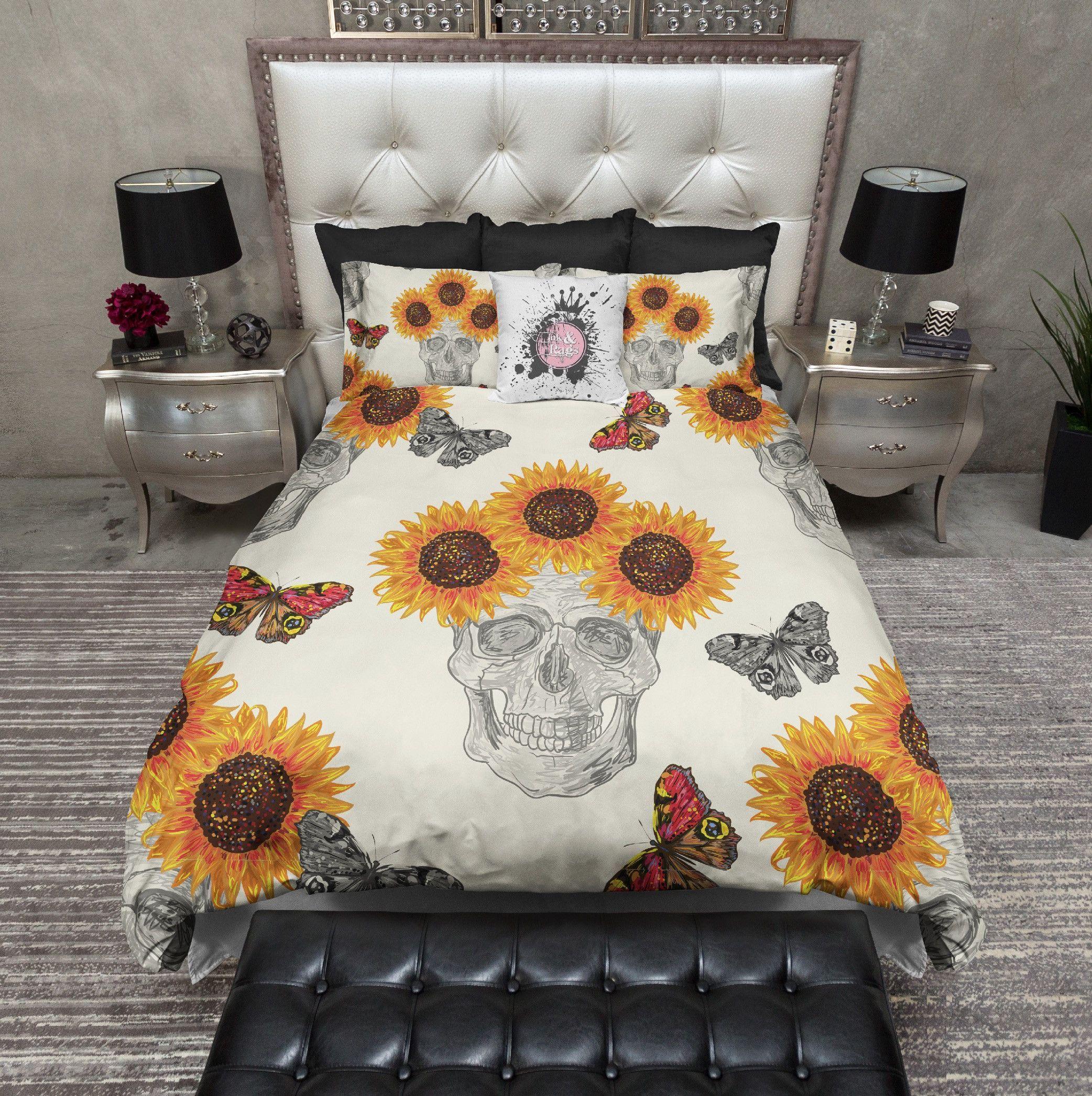 Butterfly Sunflower Skull Bedding Cream Yellow Bedding Duvet