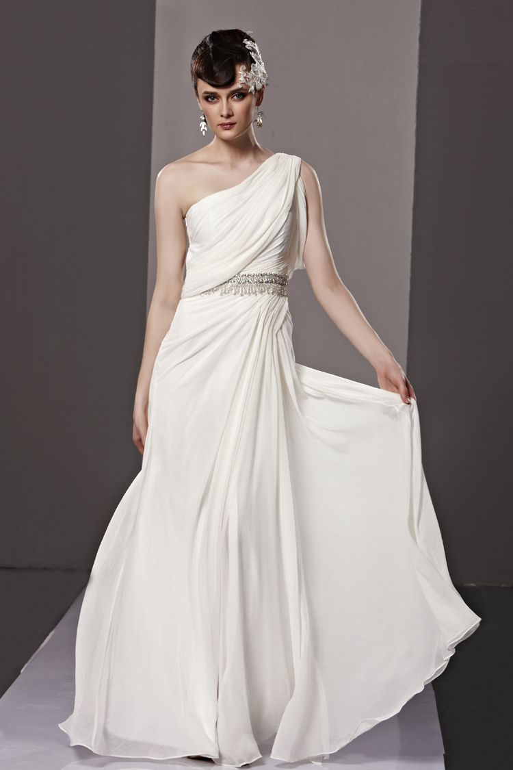 White one shoulder stamping process classic evening prom dress