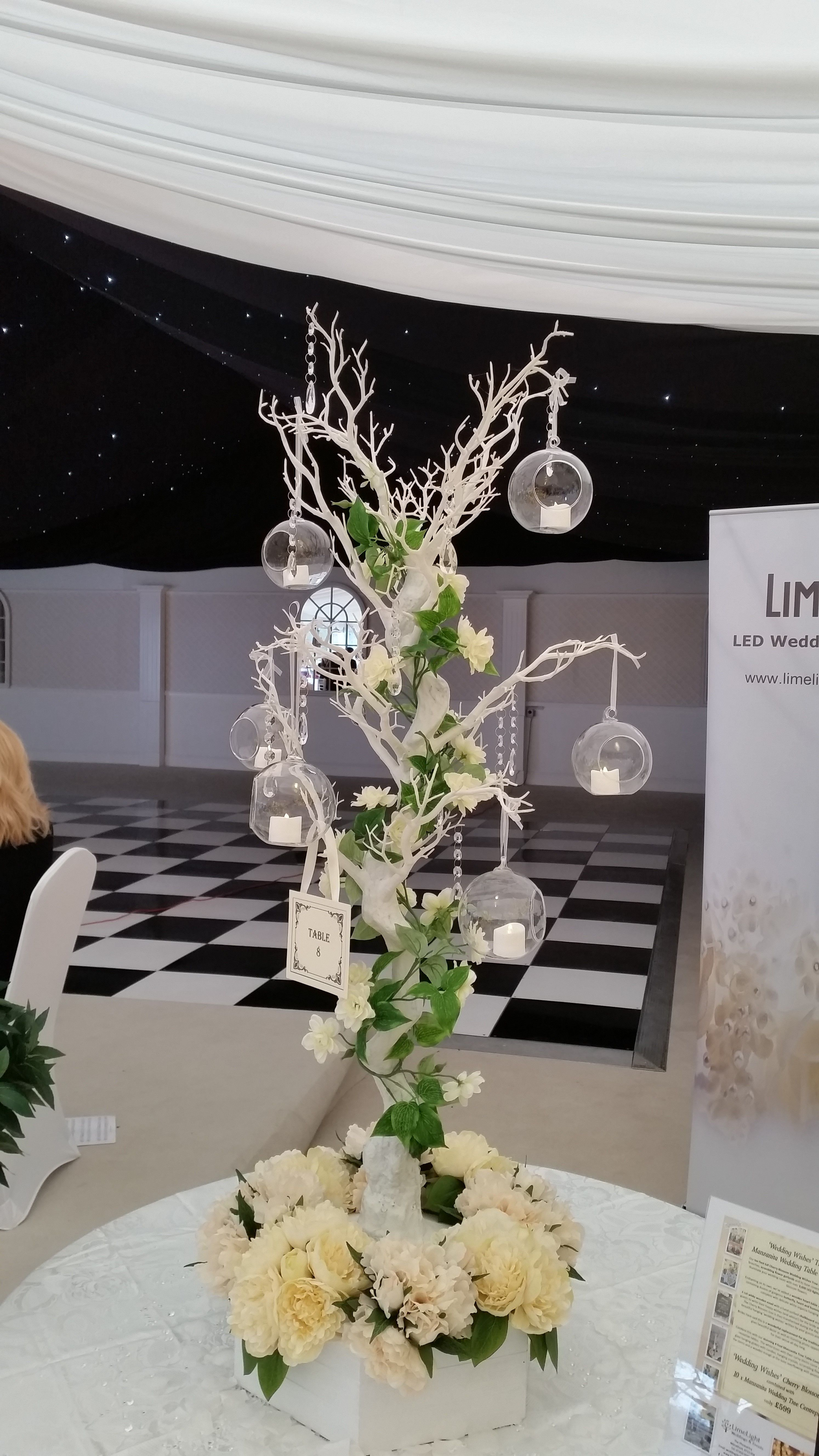 Lovely White Manzanita Tree 135cm Tall With Delicate Hanging Glass Globes And Tea Light Votives Tree Wedding Centerpieces Manzanita Tree Wedding Manzanita Tree