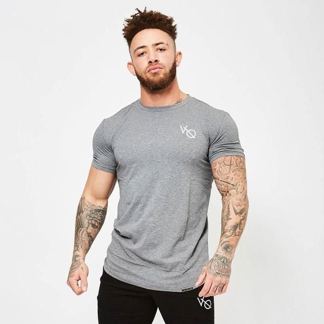 New Fashion Gym Sport T-shirt Men/'s Fitness Slim Cut Tops Bodybuilding Tee Shirt