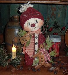 Primitive Snowman Gingerbread Winter Doll Pattern _ #Primative #Christmas #DIY Holiday Sewing Craft