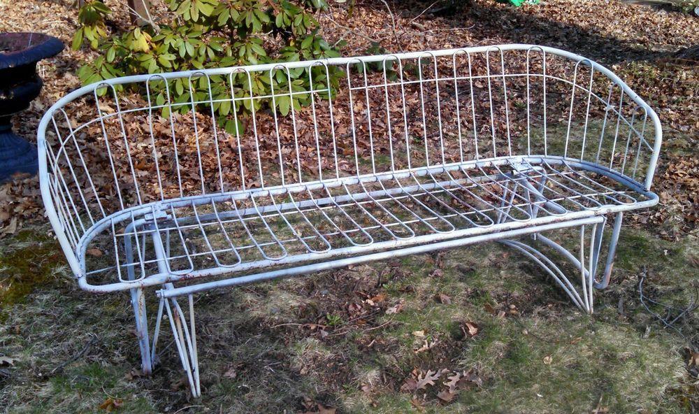 Mid Century Modern Patio Garden Wire Homecrest Glider Bench Eames ...