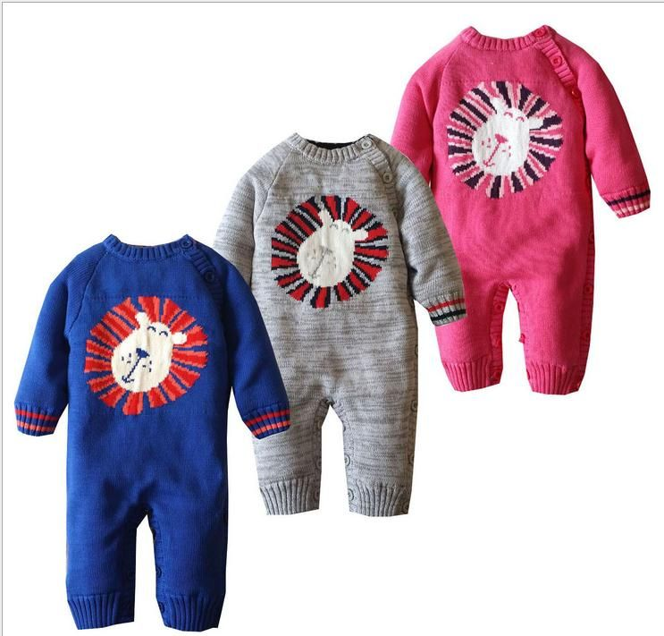 b45f286eb Newborn Baby Girls Boys Cartoon knitted Jumpsuit Romper Infantil ...