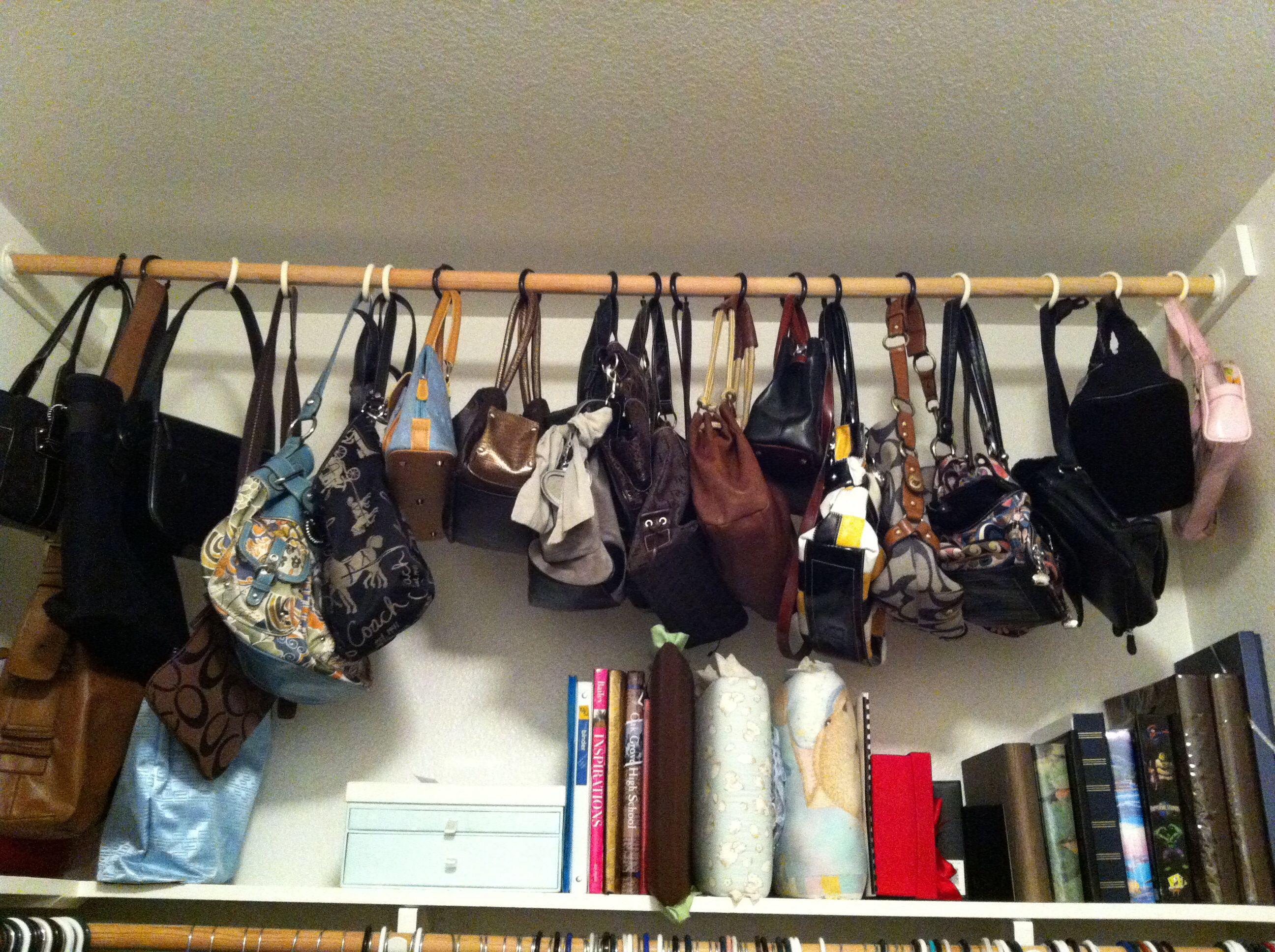 My Pinterest Inspired Purse Hangers Shower Curtain Hooks To Hang Purses On Pole In The Closet Shower Curtain Hooks Purse Hanger Curtain Hooks