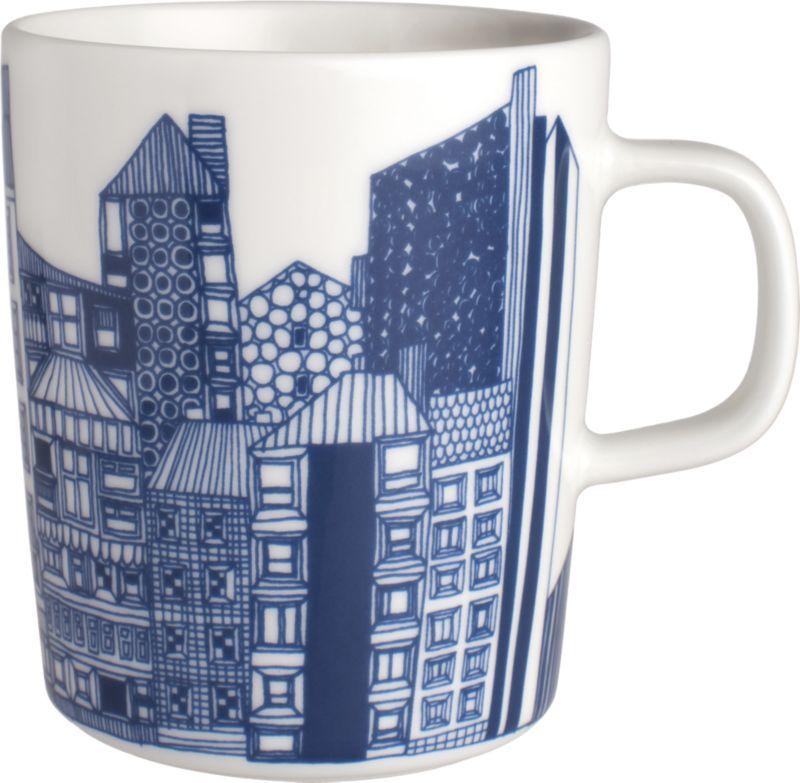 Marimekko Siirtolapuutarha Blue and White Mug | Crate