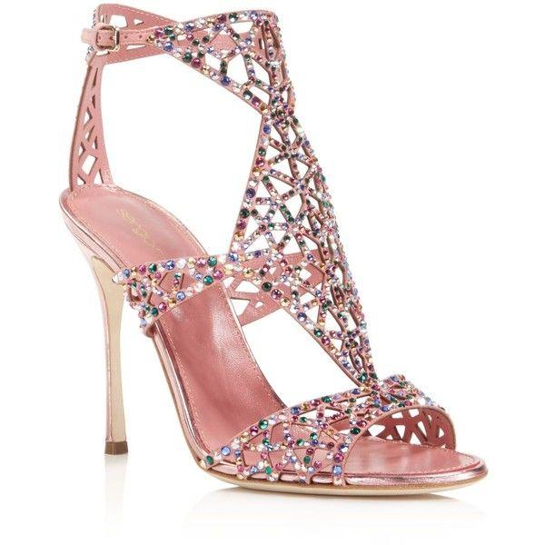 a3081350cd2 Sergio Rossi Baby Rose Swarovski Crystal Tresor Gladiator High Heel...  ( 1