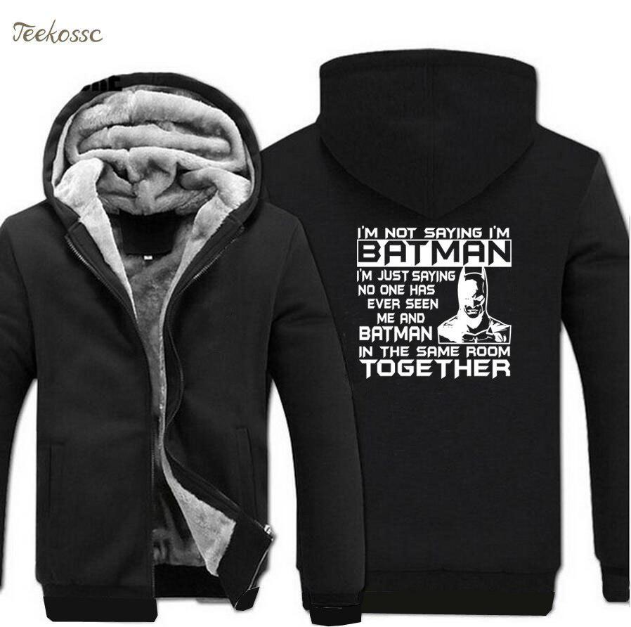 Winter Raglan Batman Warm Men Hoodies Sweatshirt Thick 2018 I'm p0wqa1Bw