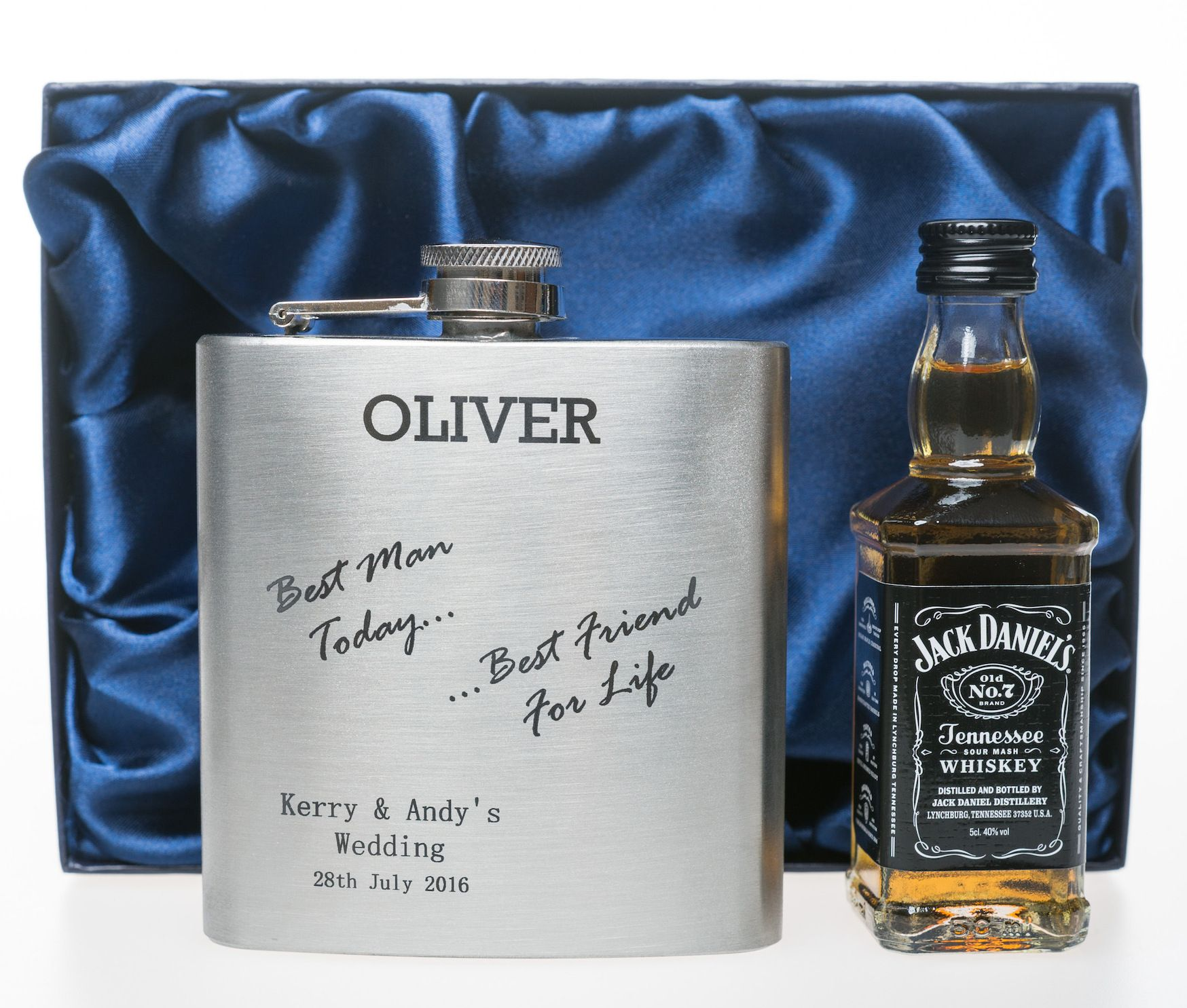 Wedding Gifts For Ushers And Best Man: ENGRAVED BEST MAN TODAY HIP FLASK + MINIATURE ALCOHOL