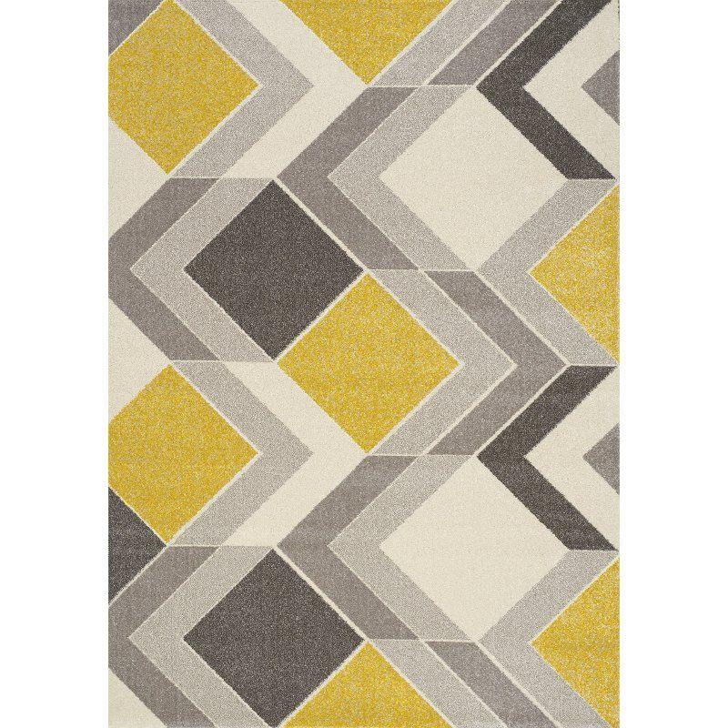 5 X 8 Medium Geometric Gray Cream And Yellow Area Rug