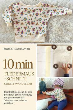 Anleitung: Kostenloses Schnittmuster Fledermaus-Shirt, K-Nähleon #gratismønster