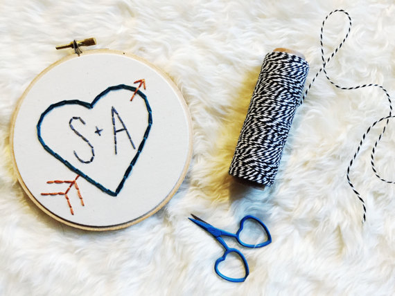 Valentine's Day Embroidery Hoop Art  Heart by MountainsofThread
