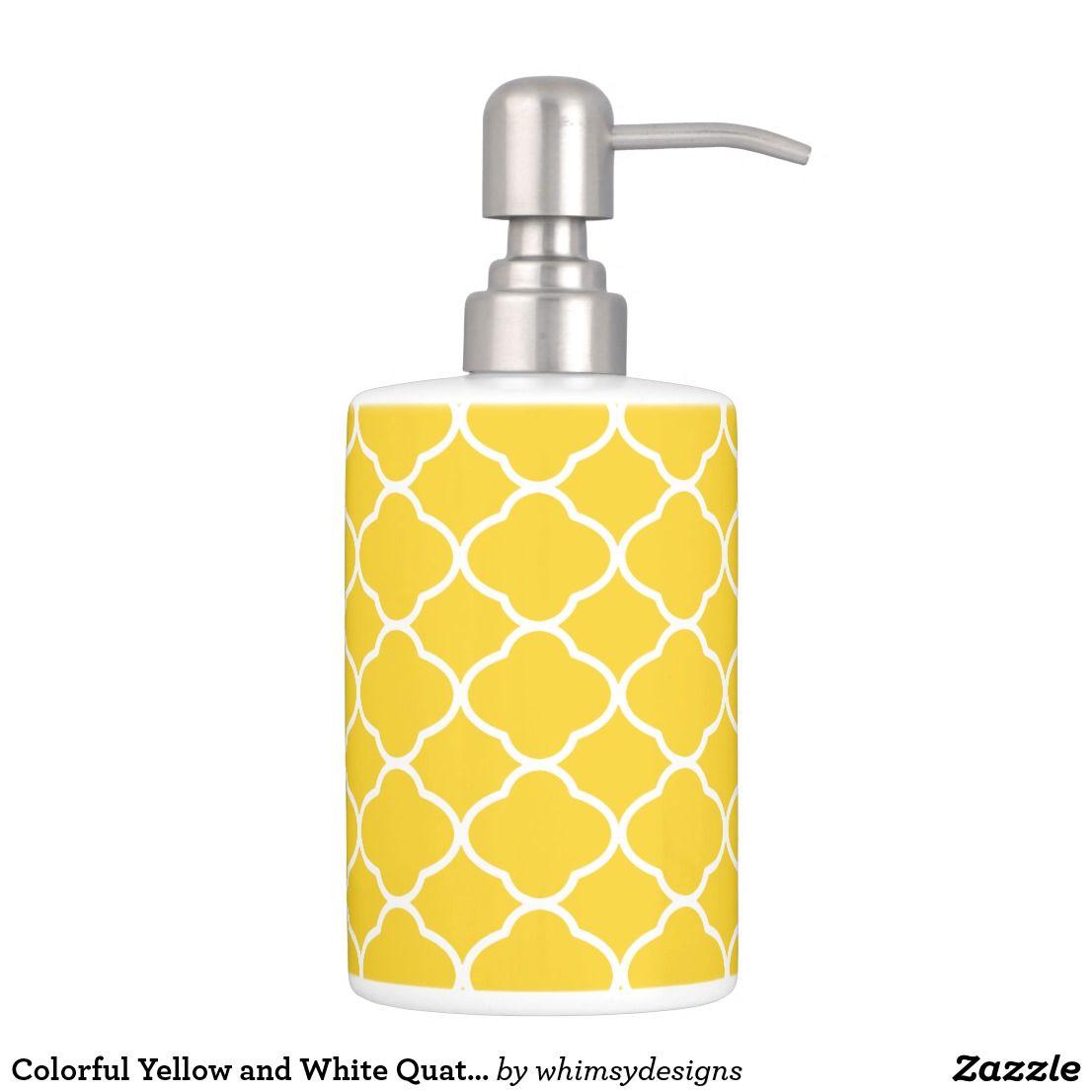 Colorful Yellow and White Quatrefoil Pattern Bath Set | Bath Sets ...