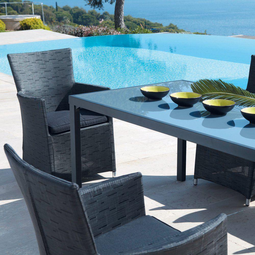 Table de jardin rectangulaire gris anthracite L 160cm ...