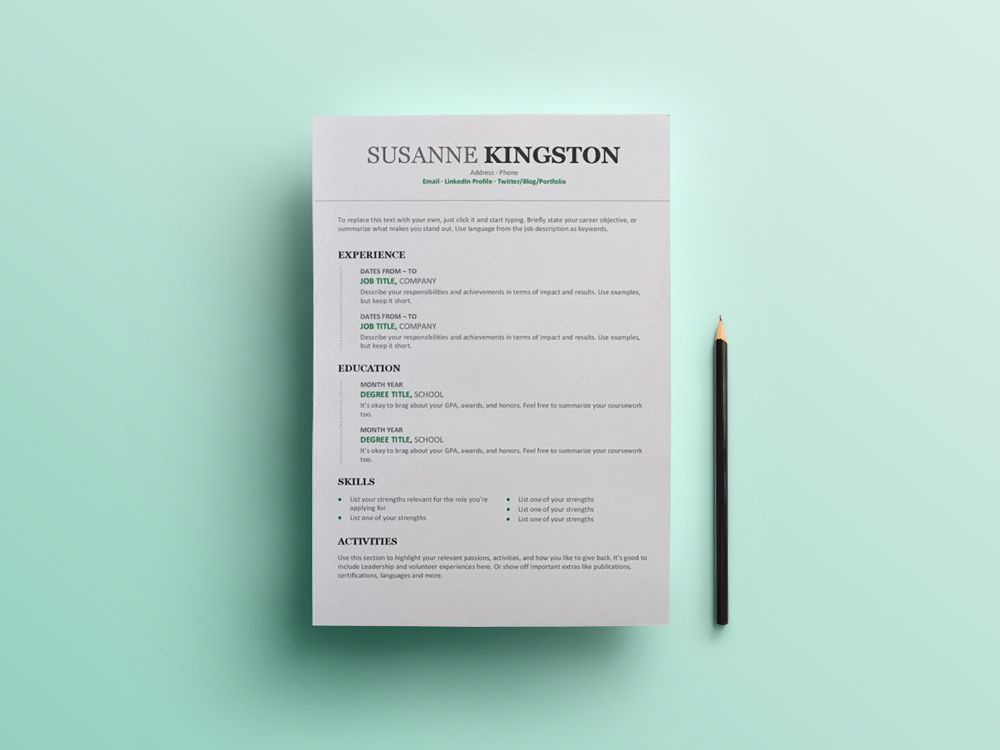 Chronological Resume - Free Microsoft Word Resume Template with