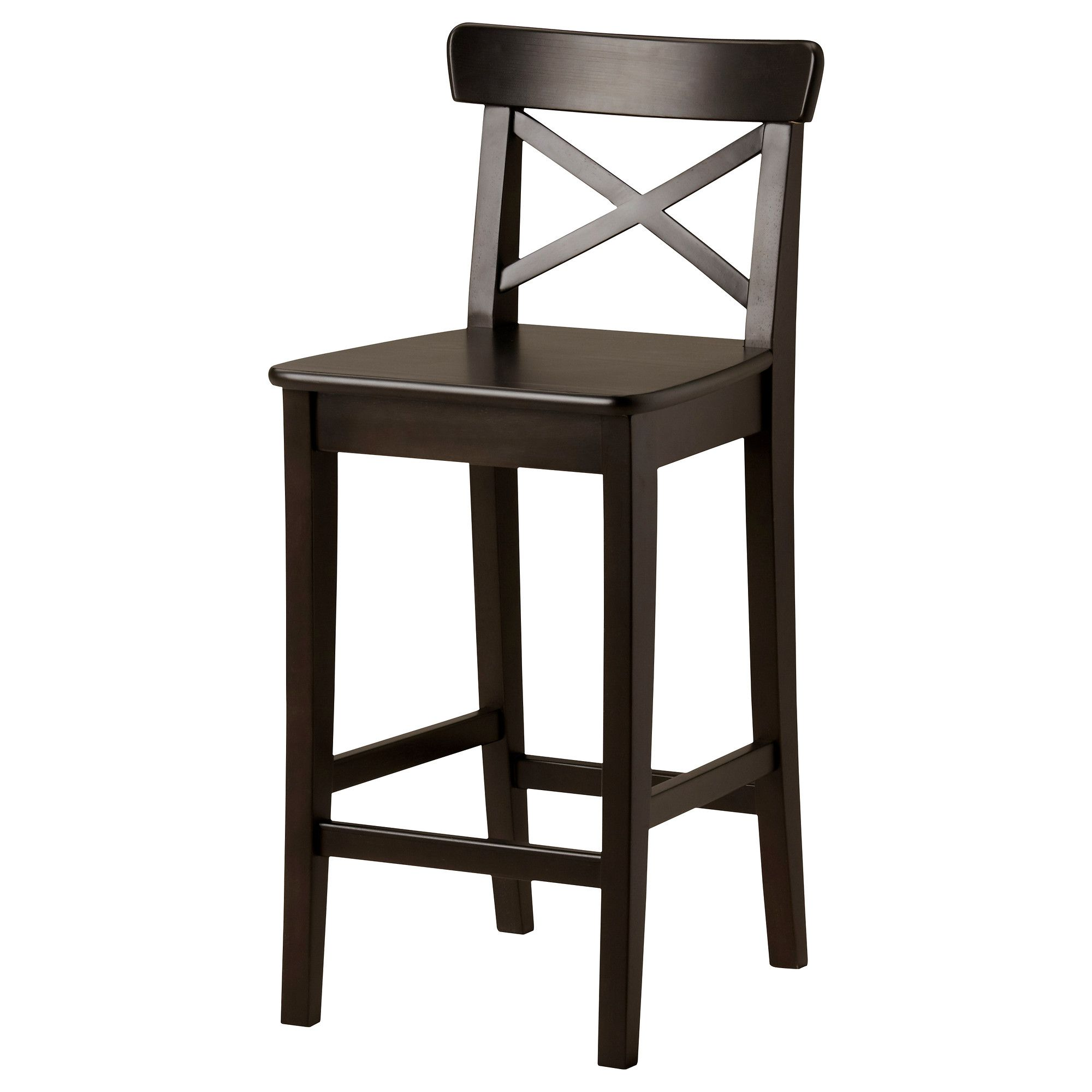 kitchen stools ikea cabinet outlet ct ingolf bar stool with backrest brown black 24 3 4 59 99