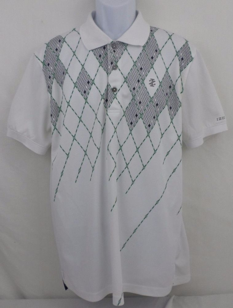 IZOD Golf Short Sleeve Polo Argyle Print White Large L 100% Polyester #IZOD #PoloRugby