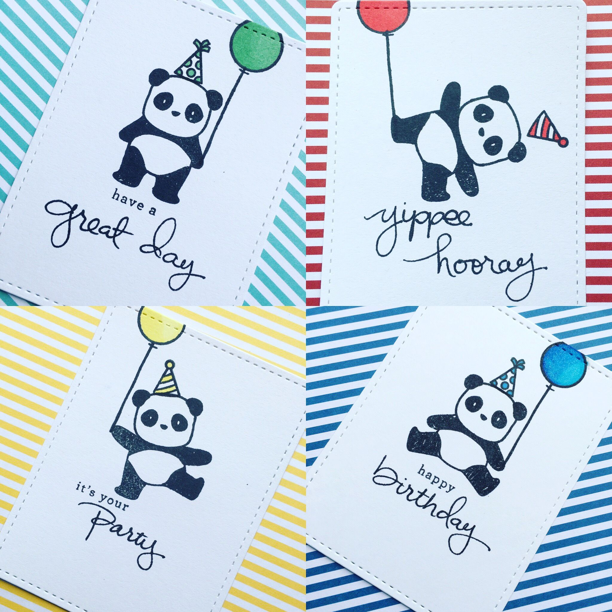 Birthday Cards Using Mamaelephant Pandamonium Stamp Set And Stampin